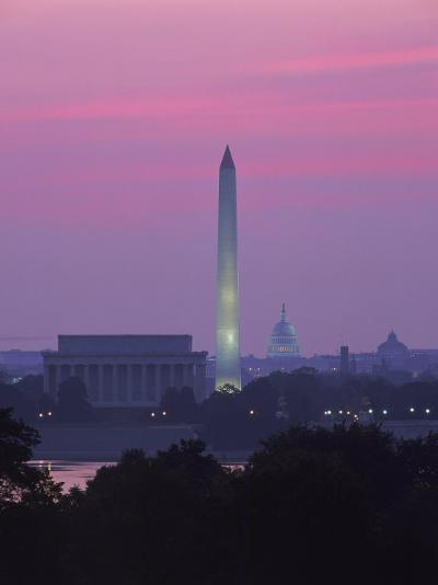 Lincoln & Washington Memorials, Dawn, DC-Walter Bibikow-Photographic Print