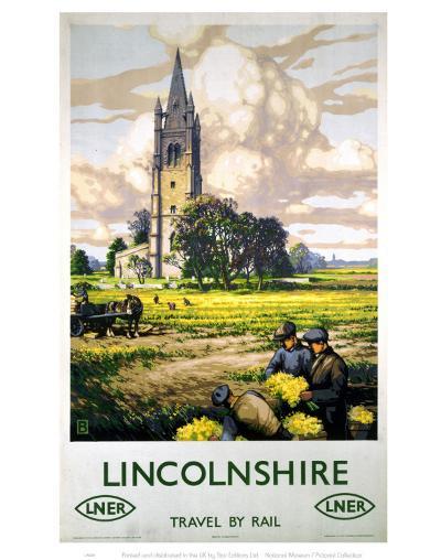 Lincolnshire Farmers and Church--Art Print