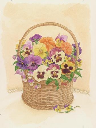 Basket of Pansies, 1998 by Linda Benton