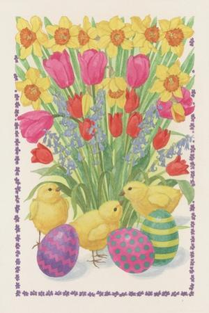 Chicks, Eggs and Flowers, 1995 by Linda Benton