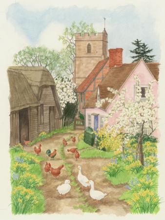 Church and Farm Track, 1998 by Linda Benton