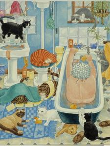 Grandma and 10 cats in the bathroom by Linda Benton