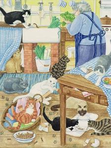 Grandma and 10 Cats in the Kitchen by Linda Benton
