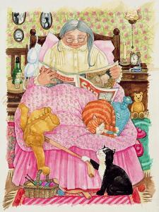 Grandma and 2 Cats and a Pink Bed by Linda Benton