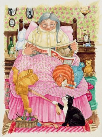 Grandma and 2 Cats and a Pink Bed by Linda Benton