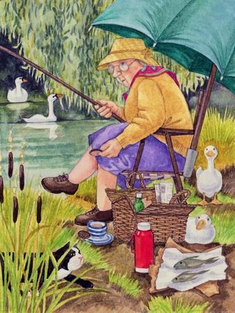 Grandma and cat fishing