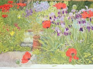 Poppies and Irises Near the Pond by Linda Benton