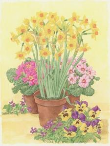 Pots of Spring Flowers, 2003 by Linda Benton