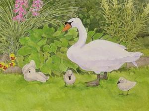Swan and Cygnets by Linda Benton