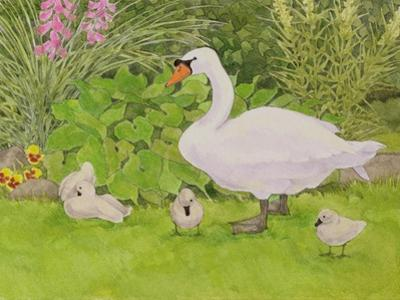 Swan and Cygnets by Linda Benton