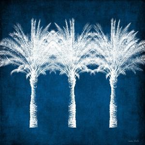 Indigo and White Palm Trees by Linda Woods