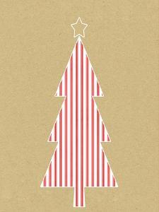 Stripe Tree on Kraft by Linda Woods