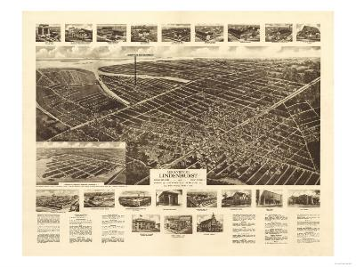 Lindenhurst, New York - Panoramic Map-Lantern Press-Art Print