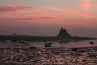 Lindisfarne Castle at Dawn over Harbour--Photographic Print