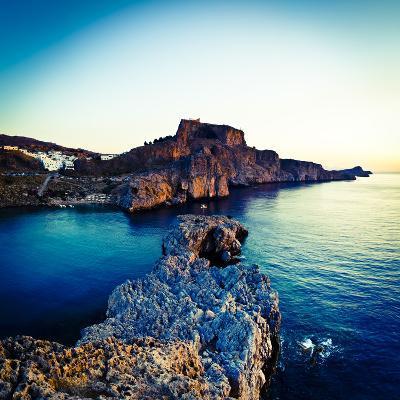 Lindos Acropolis and Harbour, Lindos, Rhodes, Greece-Doug Pearson-Photographic Print