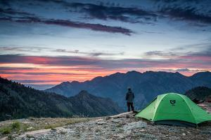 Backpacking In Big Cottonwood Canyon, Utah Overlooking Sunset by Lindsay Daniels