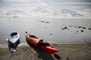 Kayaks on the Shore of the Great Salt Lake by Lindsay Daniels
