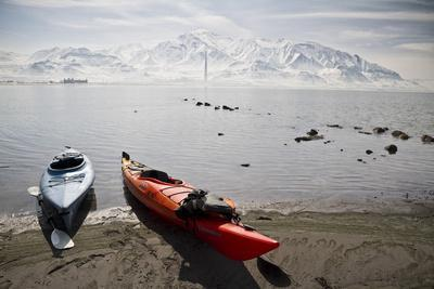 Kayaks on the Shore of the Great Salt Lake