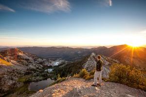 Sunset Peak Overlooking Catherine Lake, Lake Mary And Lake Martha In Big Cottonwood Canyon, Utah by Lindsay Daniels