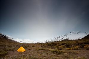 Yellow Tent And Alaskan Range by Lindsay Daniels