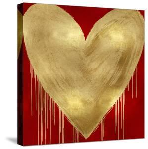 Big Hearted Gold on Red by Lindsay Rodgers