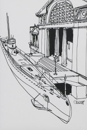 Line Drawn Art Postcard - U-505 Submarine--Giclee Print