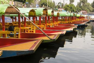 Line of Colourful Boats at the Floating Gardens in Xochimilco-John Woodworth-Photographic Print