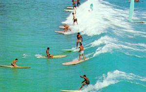 Line of Long Board Surfers