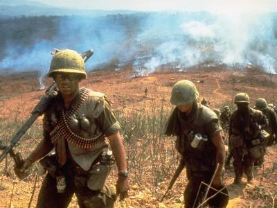 Line of Soldiers Marching Up Hill with Smoky Fires in Background, During Route 9 Offensive-Larry Burrows-Photographic Print