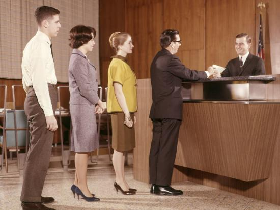 Line People Group Waiting Bank Teller Banking Photographic Print By H Armstrong Roberts Art Com