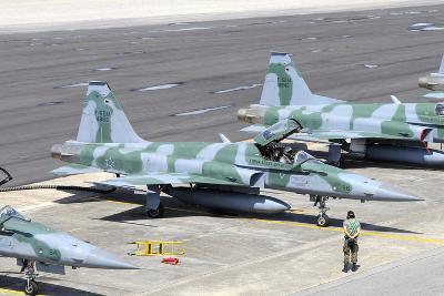 Line-Up of Brazilian Air Force F-5Em at Natal Air Force Base, Brazil-Stocktrek Images-Photographic Print