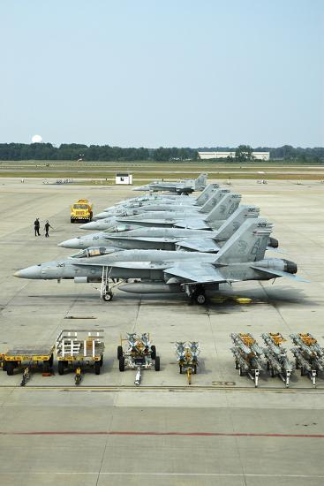Line-Up of FA-18 Hornets on the Ramp at Naval Air Station Oceana, Virginia-Stocktrek Images-Photographic Print
