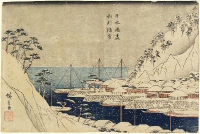Lined Pine Trees at Uraga Port, C. 1840-1843-Utagawa Hiroshige-Giclee Print