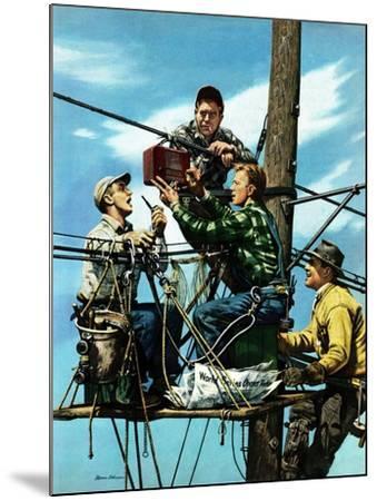 """Linemen Listen to World Series"", October 4, 1952-Stevan Dohanos-Mounted Giclee Print"