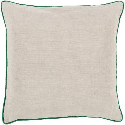 Linen Piped Pillow Down Fill - Light Grey/Emerald (Sold Out)--Home Accessories