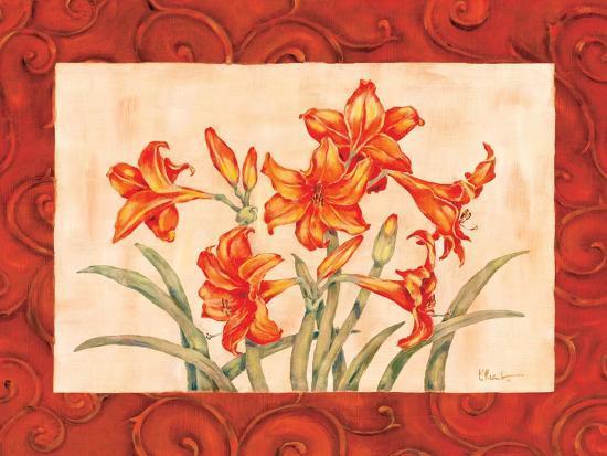 Linen Scroll Amaryllis-Paul Brent-Art Print
