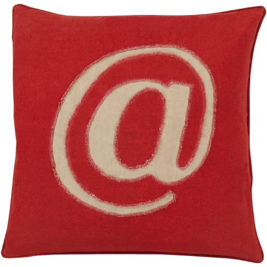 Linen Text Down Fill Pillow - Cherry--Home Accessories