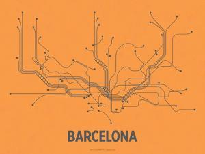 Barcelona (Orange & Gray) by LinePosters