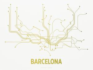 Barcelona Screen Print White by LinePosters