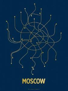 Moscow (Navy & Gold) by LinePosters