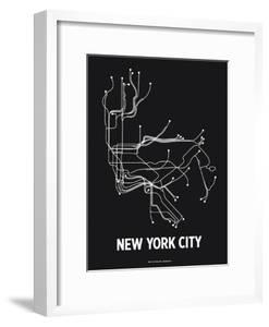 New York City (Black & Pearl White) by LinePosters