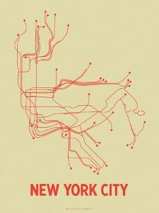 New York City (Cement Green & Orange) by LinePosters