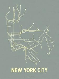 New York City (Steel Blue & Yellow) by LinePosters