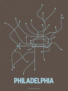 Philadelphia (Charcoal Brown & Light Blue) by LinePosters