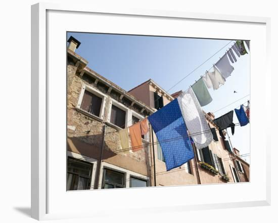 Lines of Laundry from Brick Houses Blowing in the Breeze--Framed Photographic Print