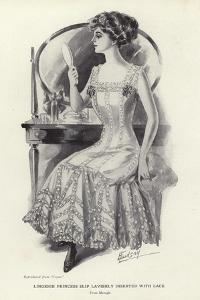 Lingerie Princess Slip Lavishly Inserted with Lace