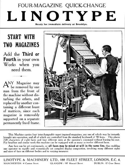 'Linotype & Machinery Ltd. advert', 1919-Unknown-Giclee Print