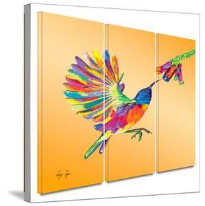 Humming 3 piece gallery-wrapped canvas by Linzi Lynn