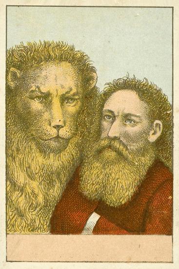 Lion and Bearded Man--Giclee Print