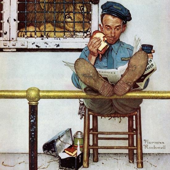 """""""Lion and His Keeper"""", January 9,1954-Norman Rockwell-Giclee Print"""